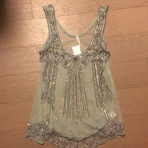 NWT Willow & Clay Sheer Beaded Celadon Top